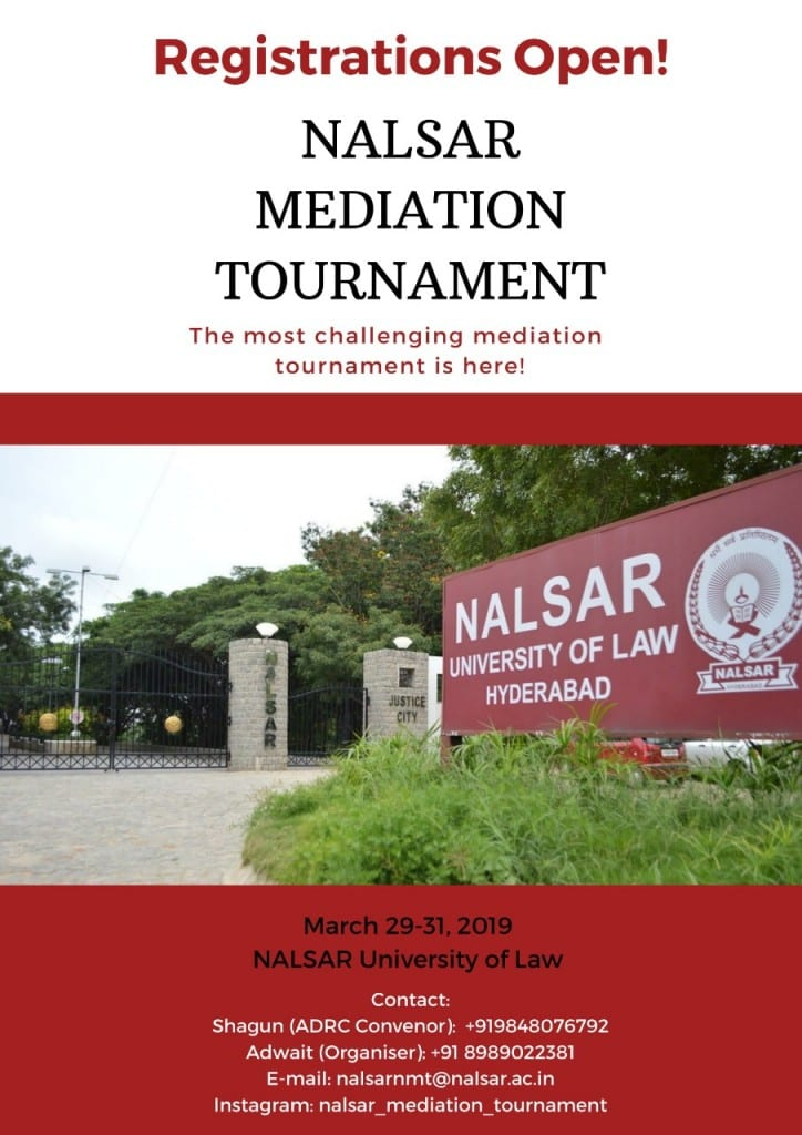 NALSAR Hyderabad Mediation Tournament 2019