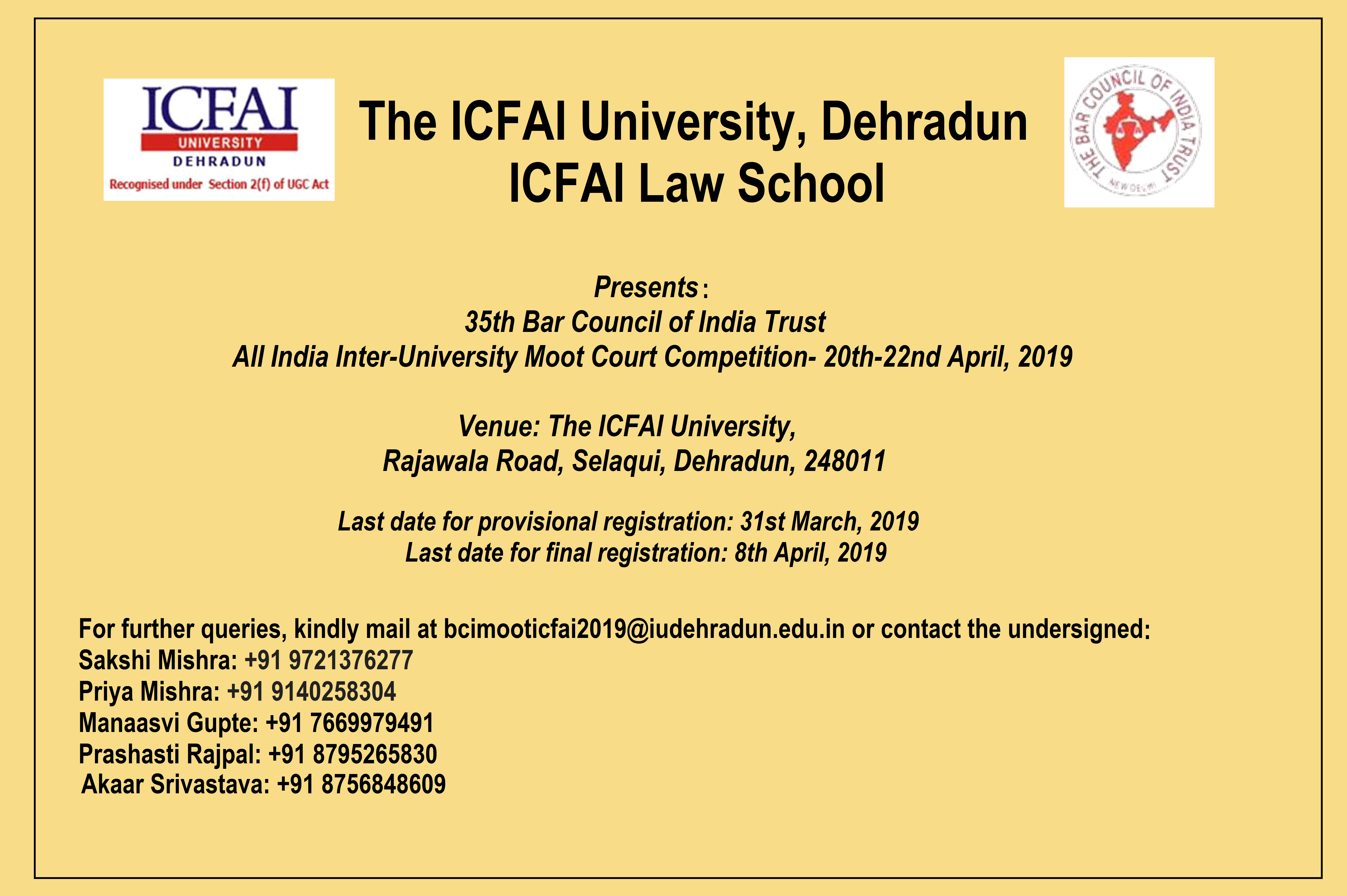 35th Bar Council of India All India Inter-University Moot Court