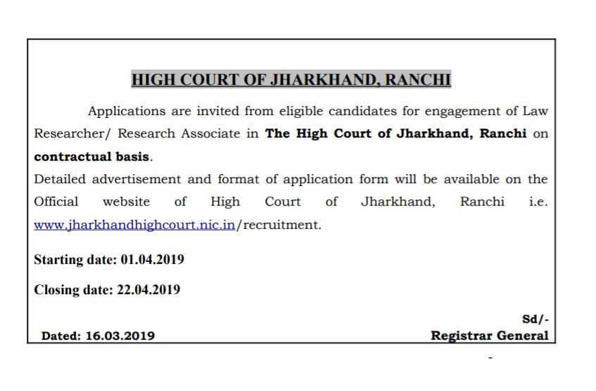 Law researchers job Jharkhand High court