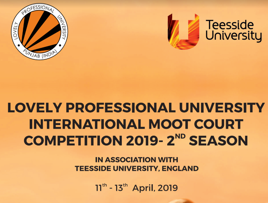 Lovely Professional University International Moot 2019 [Aug 22-24, Punjab]: Register by July 19 [Extended]