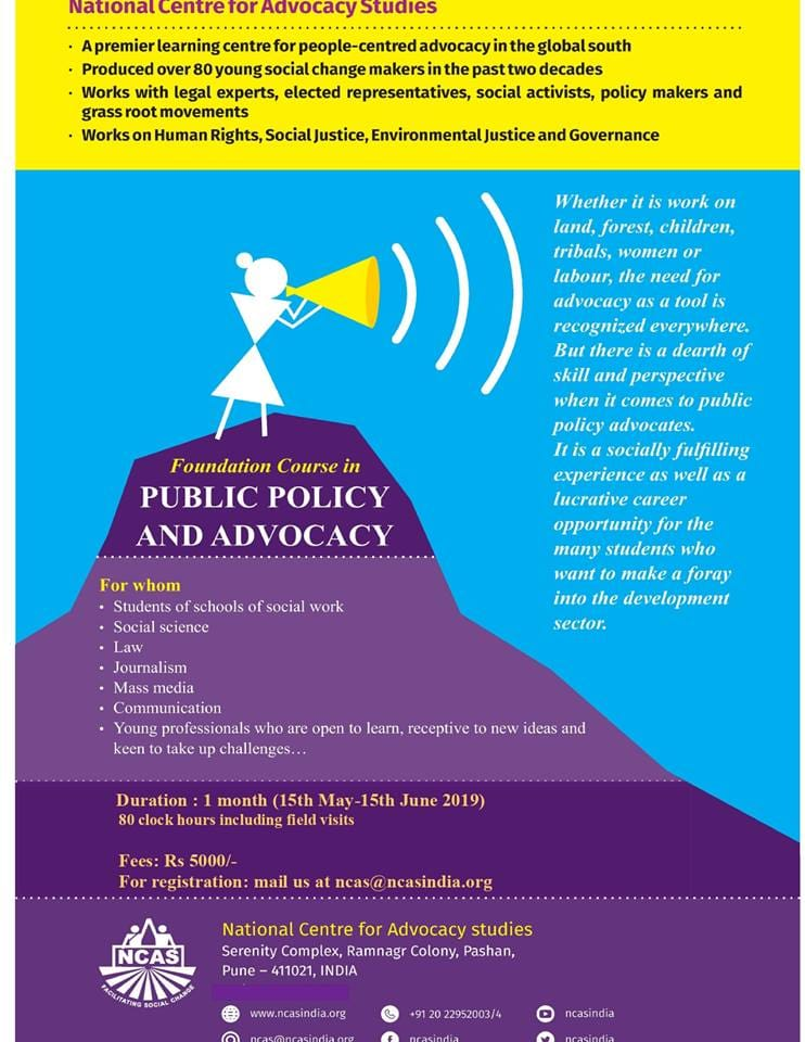 NCAS's Foundation Course on Public Policy and Advocacy