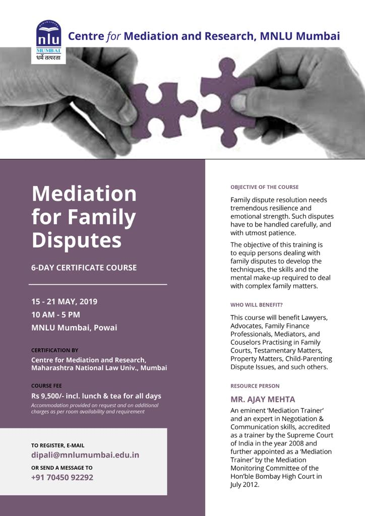 MNLU Course on Mediation for Family