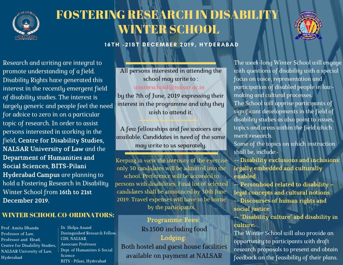 Winter School to Foster Research on Disability