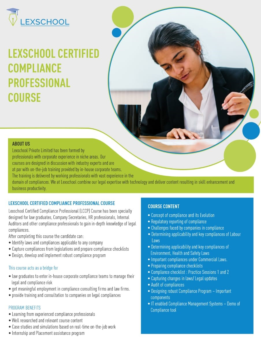 Lexschool's Online Certified Course in Corporate Compliance