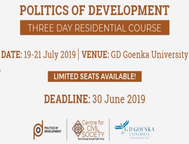 Course on Politics of Development by CCS and GD Goenka University [July 19-21, Delhi]: Register by July 7