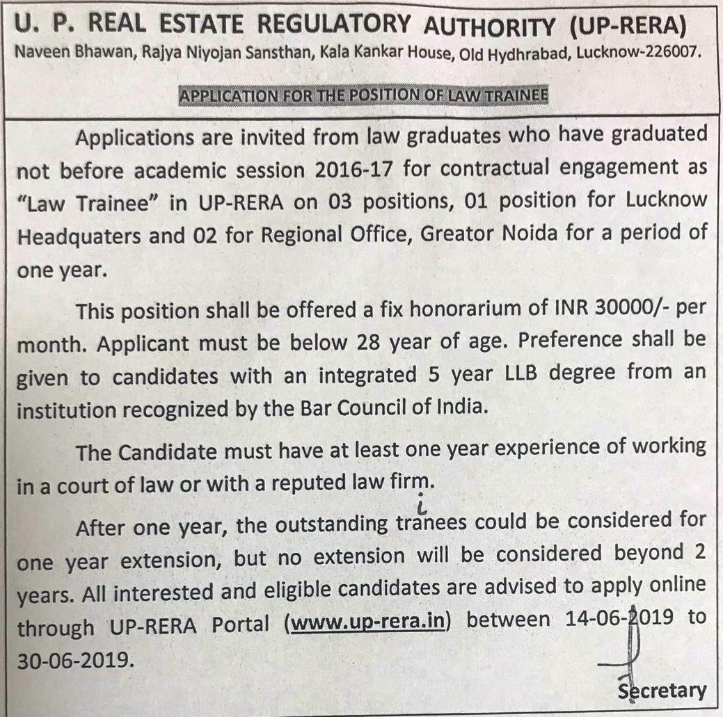 UP RERA Law Trainee