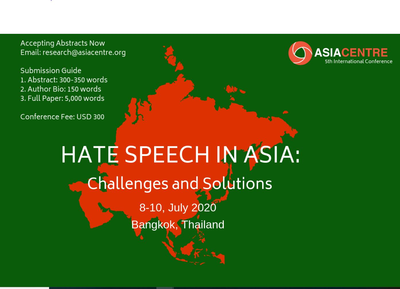CfP: Conference on Hate Speech in Asia @ Asiacentre, Bangkok [July 8-10, 2020]: Submit by Dec 15
