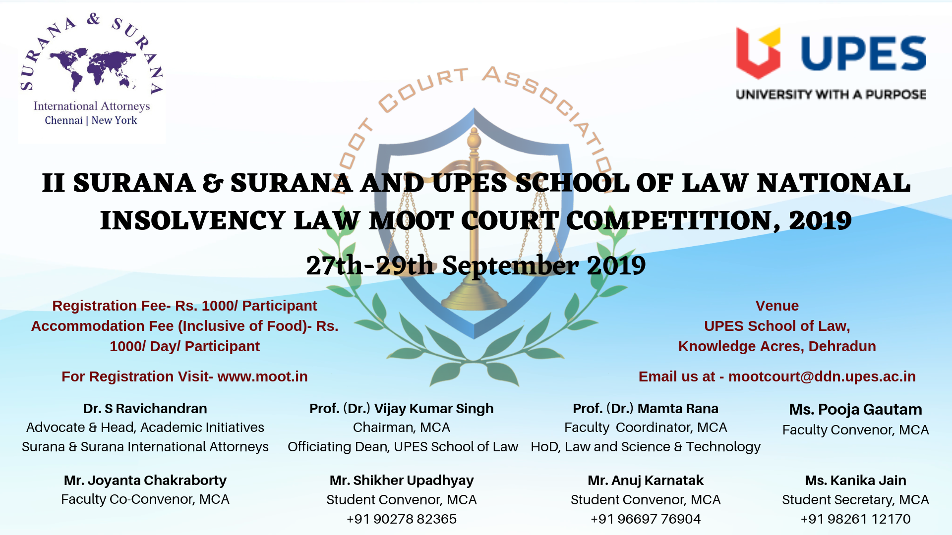 Surana & Surana and UPES School of Law National Insolvency Law Moot