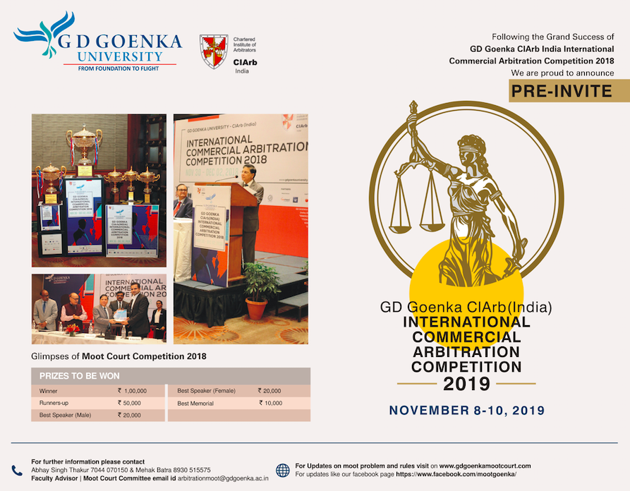 GD Goenka CIArb (India) Commercial Arbitration Competition 2019
