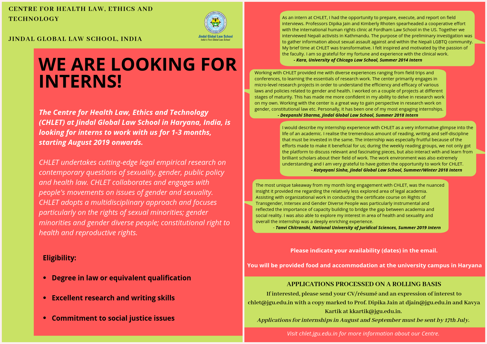 Internship Opportunity at CHLET, Jindal Global Law School, Sonipat
