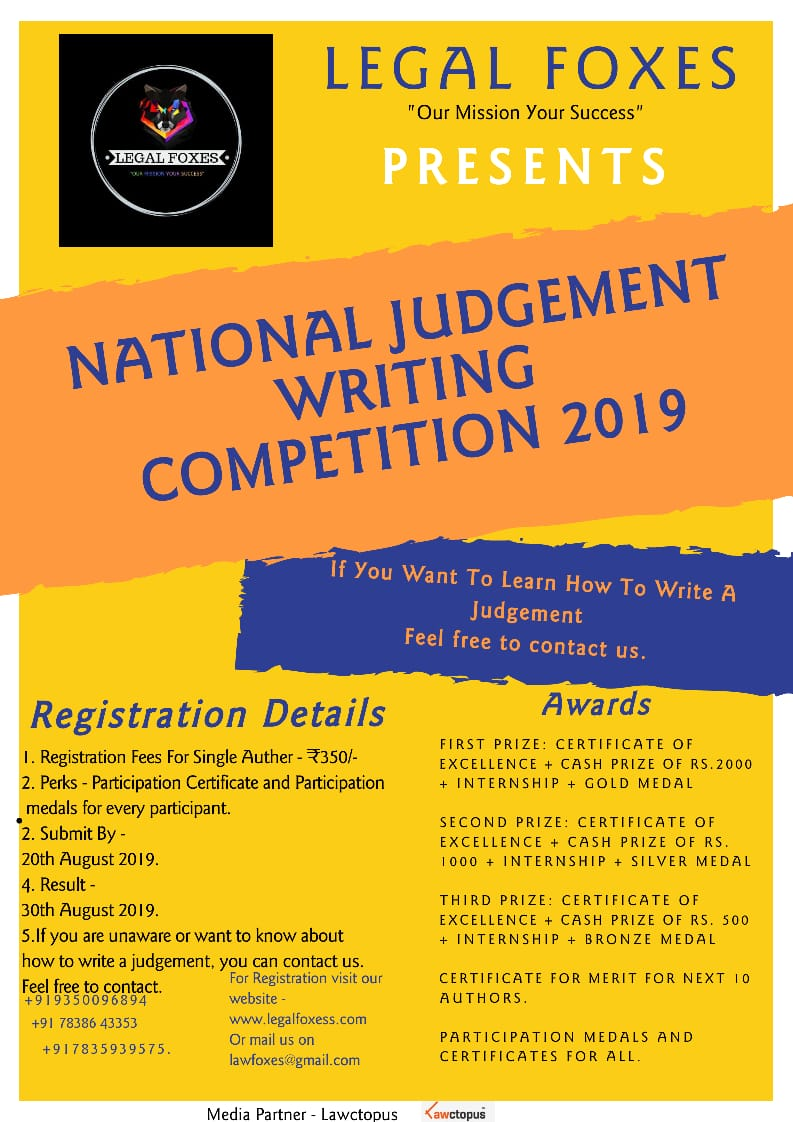 Judgment Writing Competition by Legal Foxes