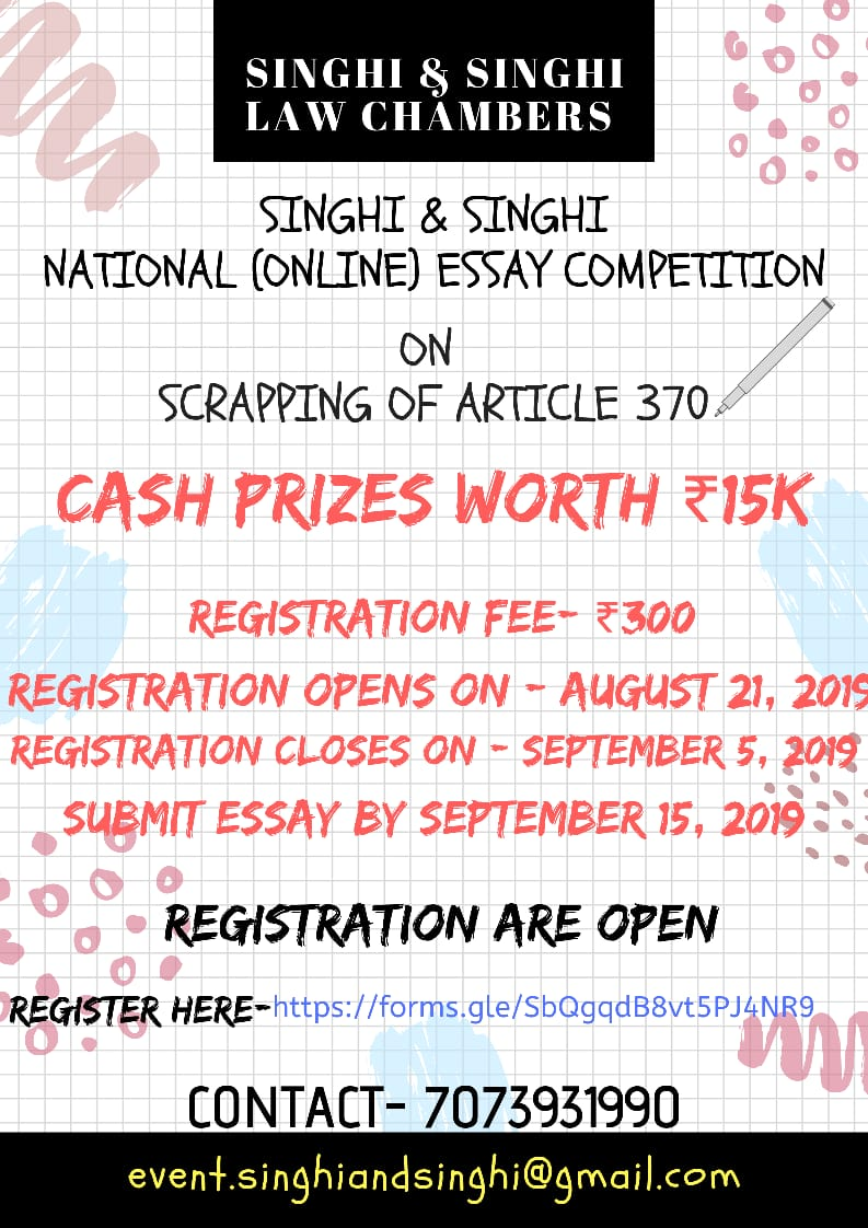 Online Essay Writing Competition by Singhi & Singhi Law Chamber: Prizes Worth Rs. 15K, Submit by Sep 15