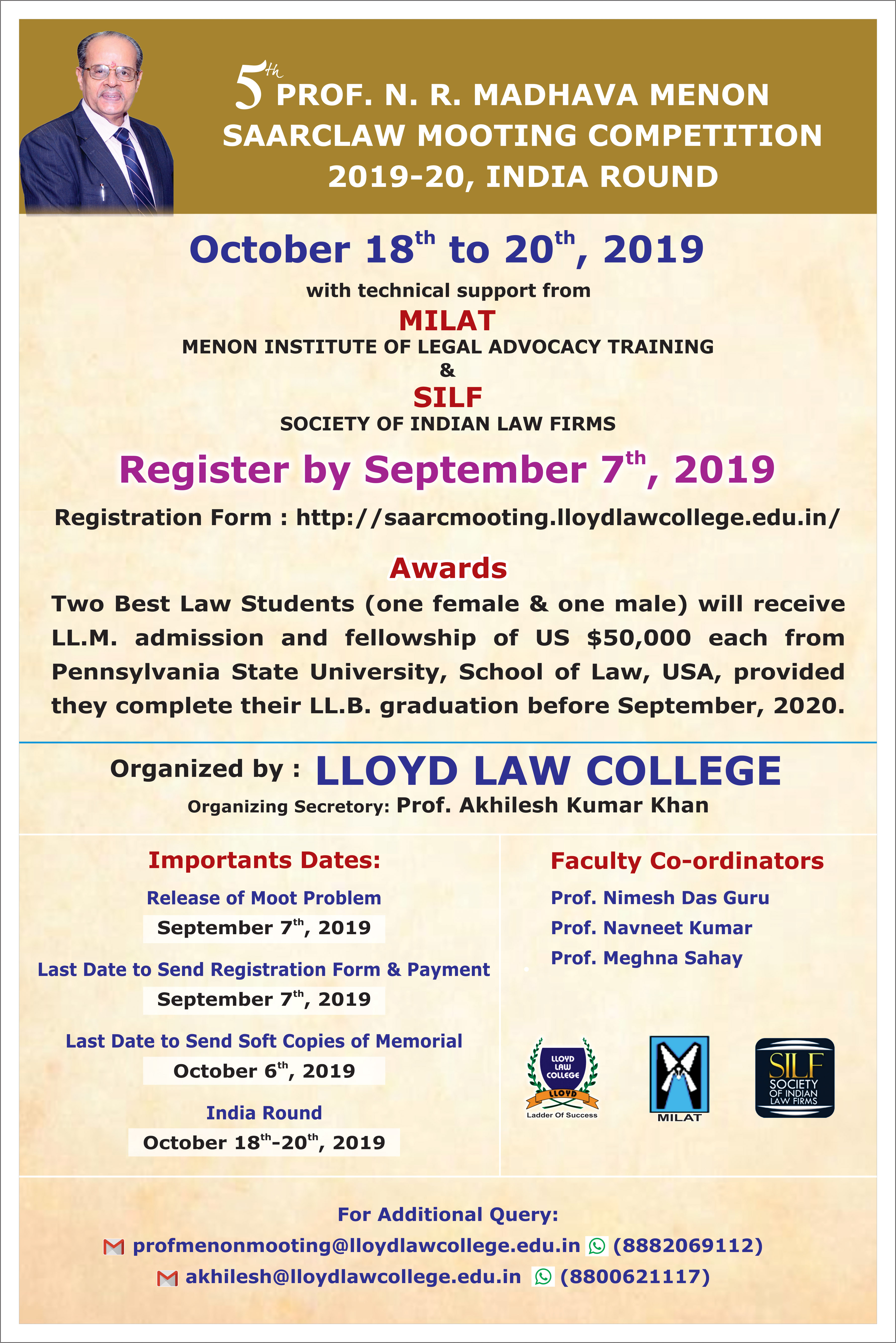 Prof N R Madhava Menon SAARCLAW Mooting Competition