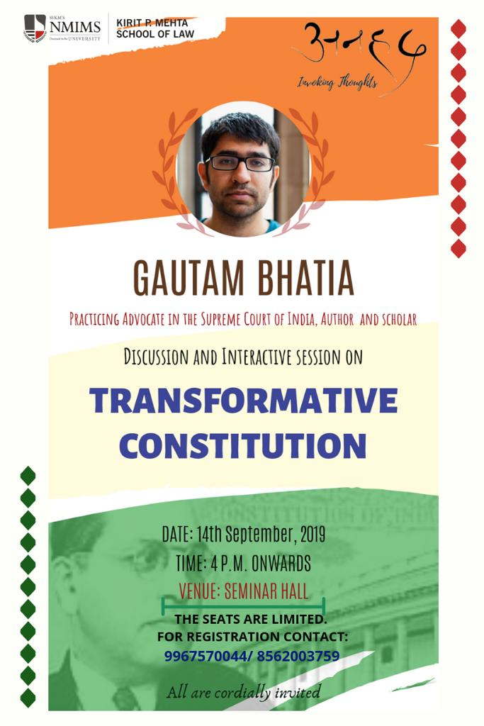 Session on Transformative Constitution at NMIMS School of Law, Mumbai [Sep 14]: Registrations Open