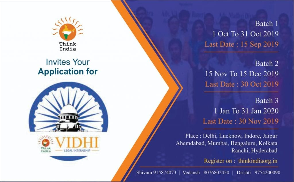 Internship Opportunity at Think India-VIDHI