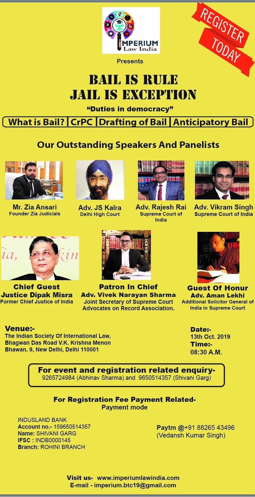 Seminar on Bail is rule and Jail is exception by Imperium Law India [Oct 13, Delhi]: Registrations Open