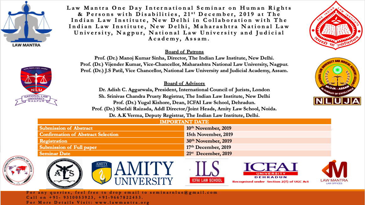 CfP: Law Mantra's Seminar on Human Rights and Persons with Disabilities at ILI, Delhi [Dec 21]: Submit by Nov 10