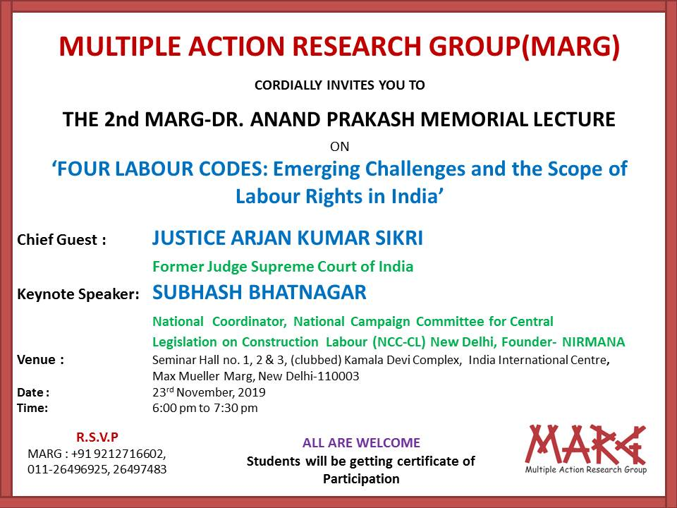 2nd MARG Dr. Anand Prakash Memorial Lecture on Four Labour Codes