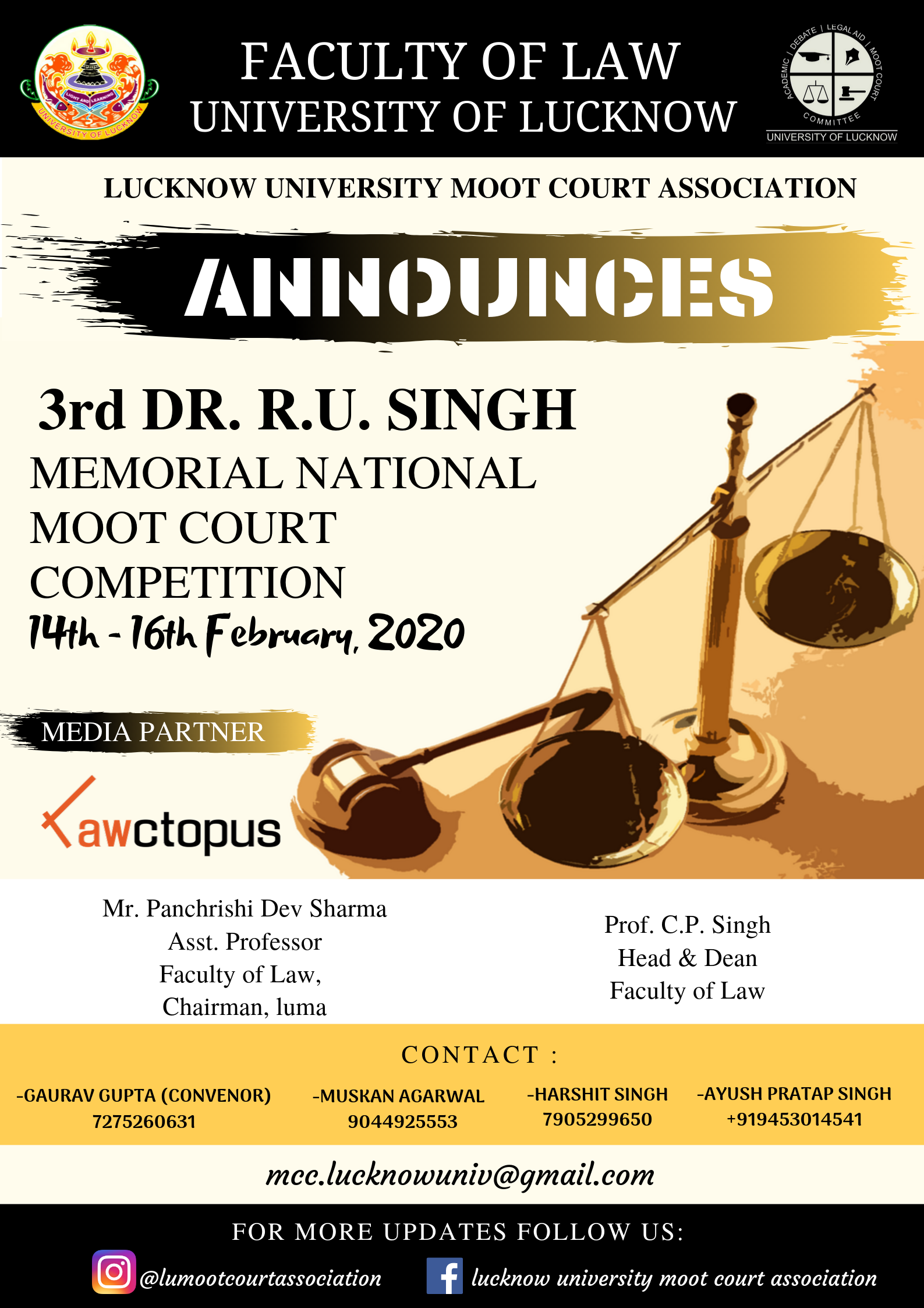 3rd Dr. R.U. Singh Memorial Moot Court Competition