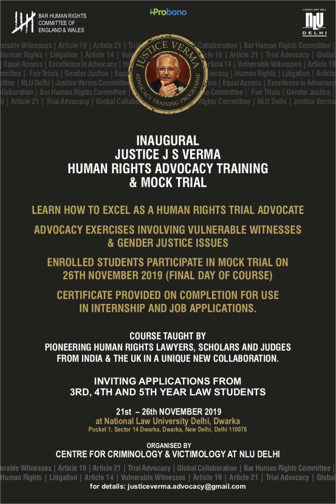 Justice J S Verma Advocacy Training Course and Mock Trial at NLU Delhi