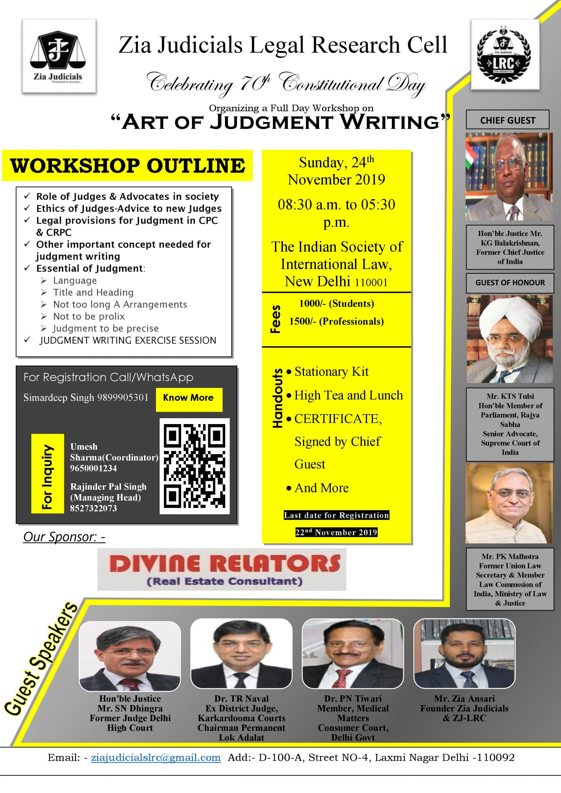 Workshop on Art of Judgment Writing by Zia Judicials Legal Research Cell, Delhi