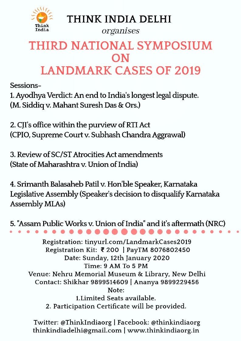 3rd National Symposium on Landmark Judgments by Think India
