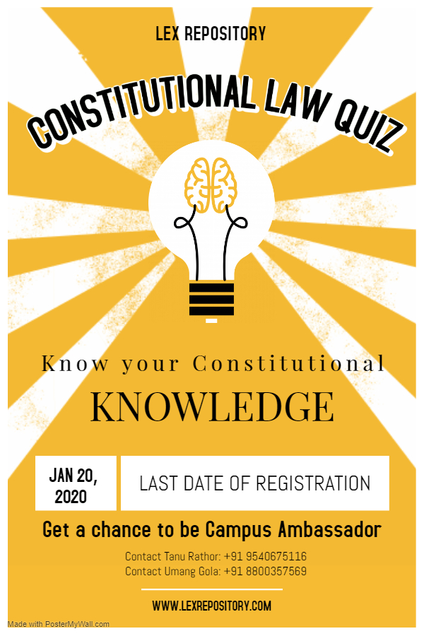 Constitutional Law Online Quiz Competition by Lex Repository