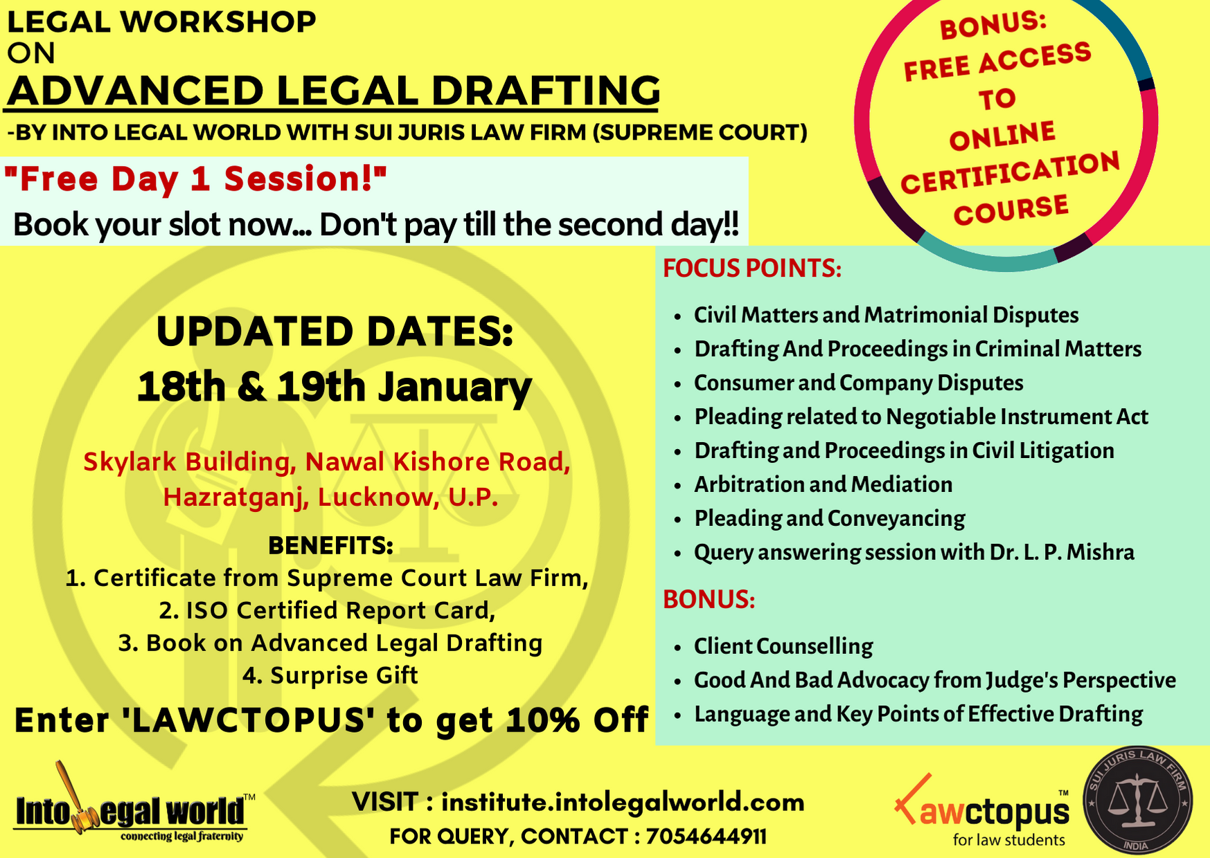 Workshop on Advance Legal Drafting by Into Legal World