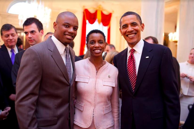 Donna F. Edwards, JD '89 with President Barack Obama