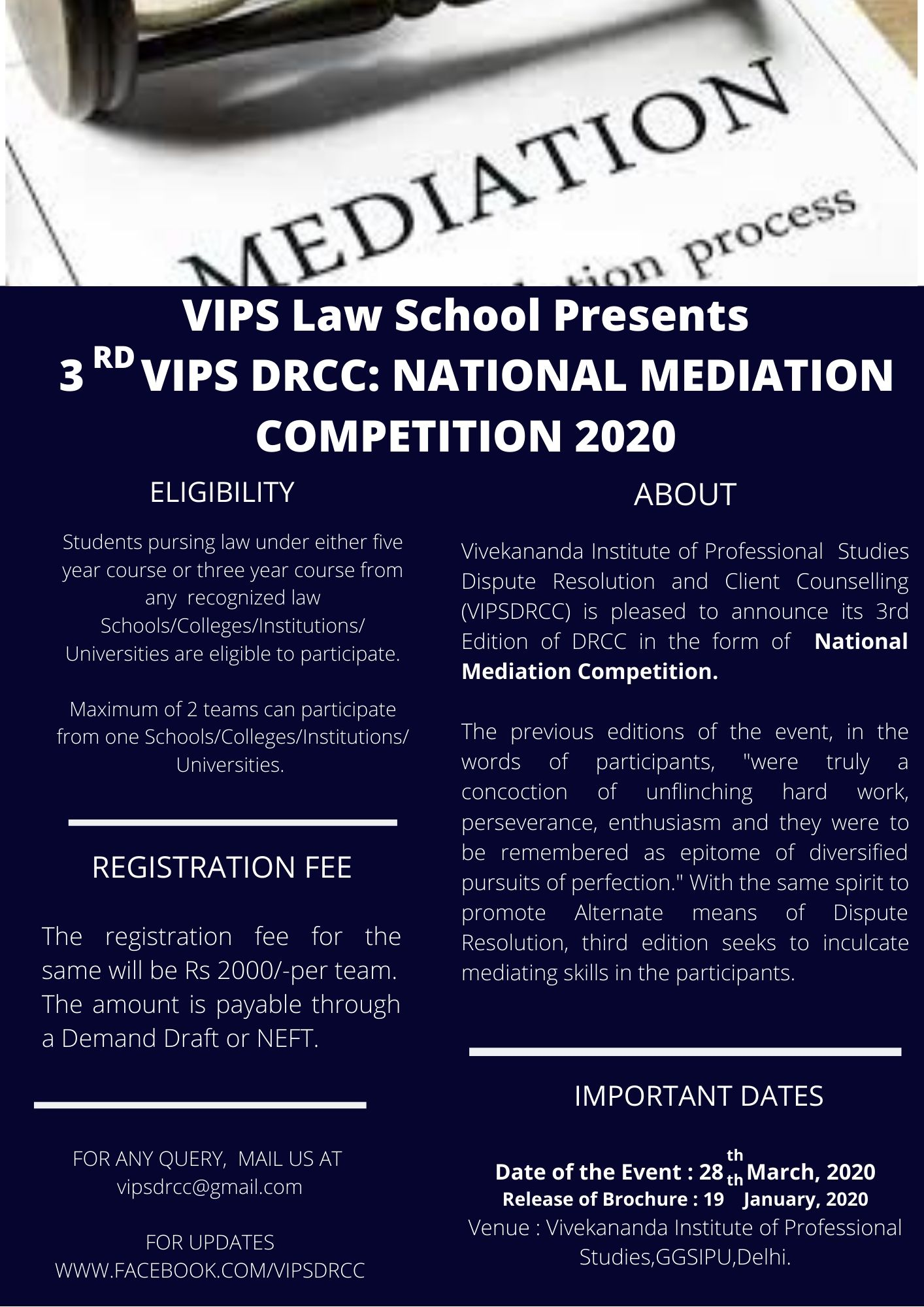 3rd VIPS DRCC's National Mediation Competition 2020