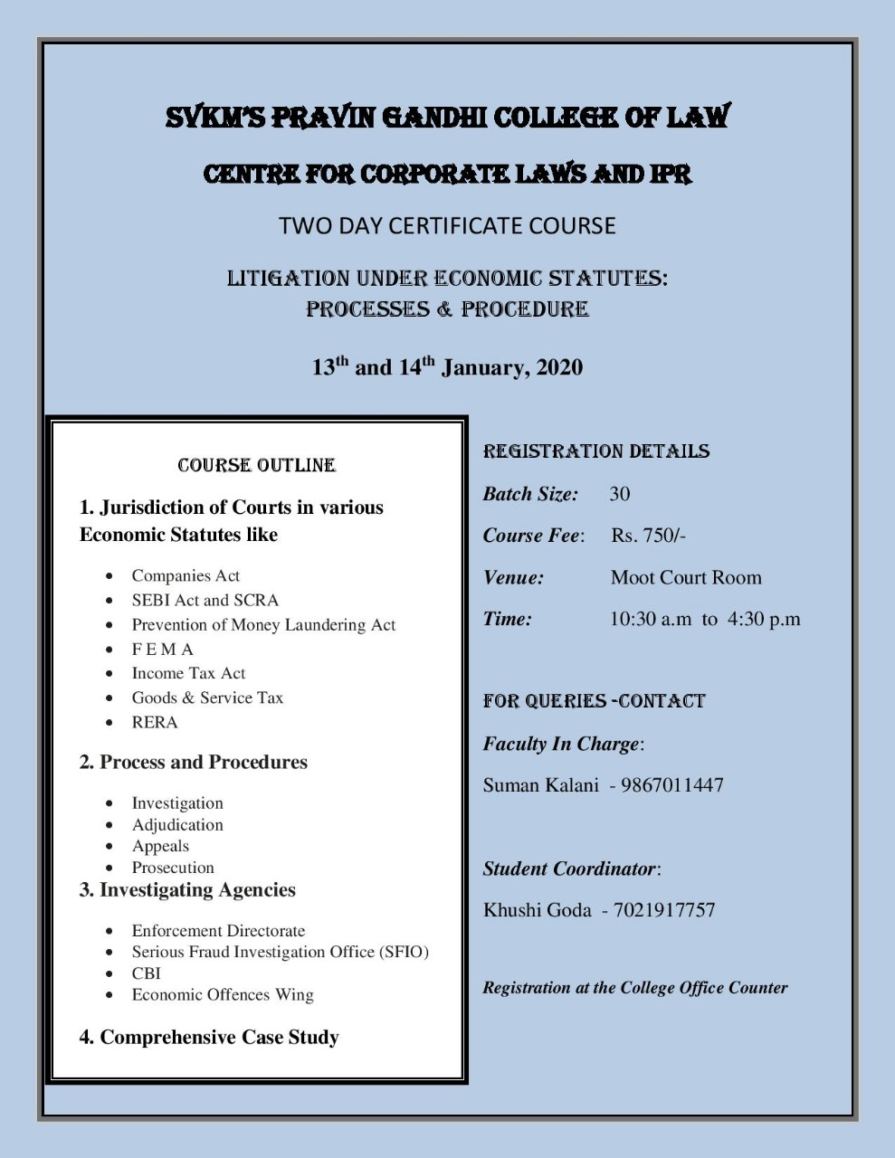 Course in Litigation under Economic Statutes at SVKM's Pravin Gandhi College of Law, Mumbai