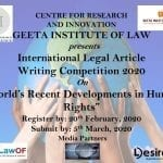 International Legal Article Writing Competition 2020 by Geeta Institute of Law, Panipat