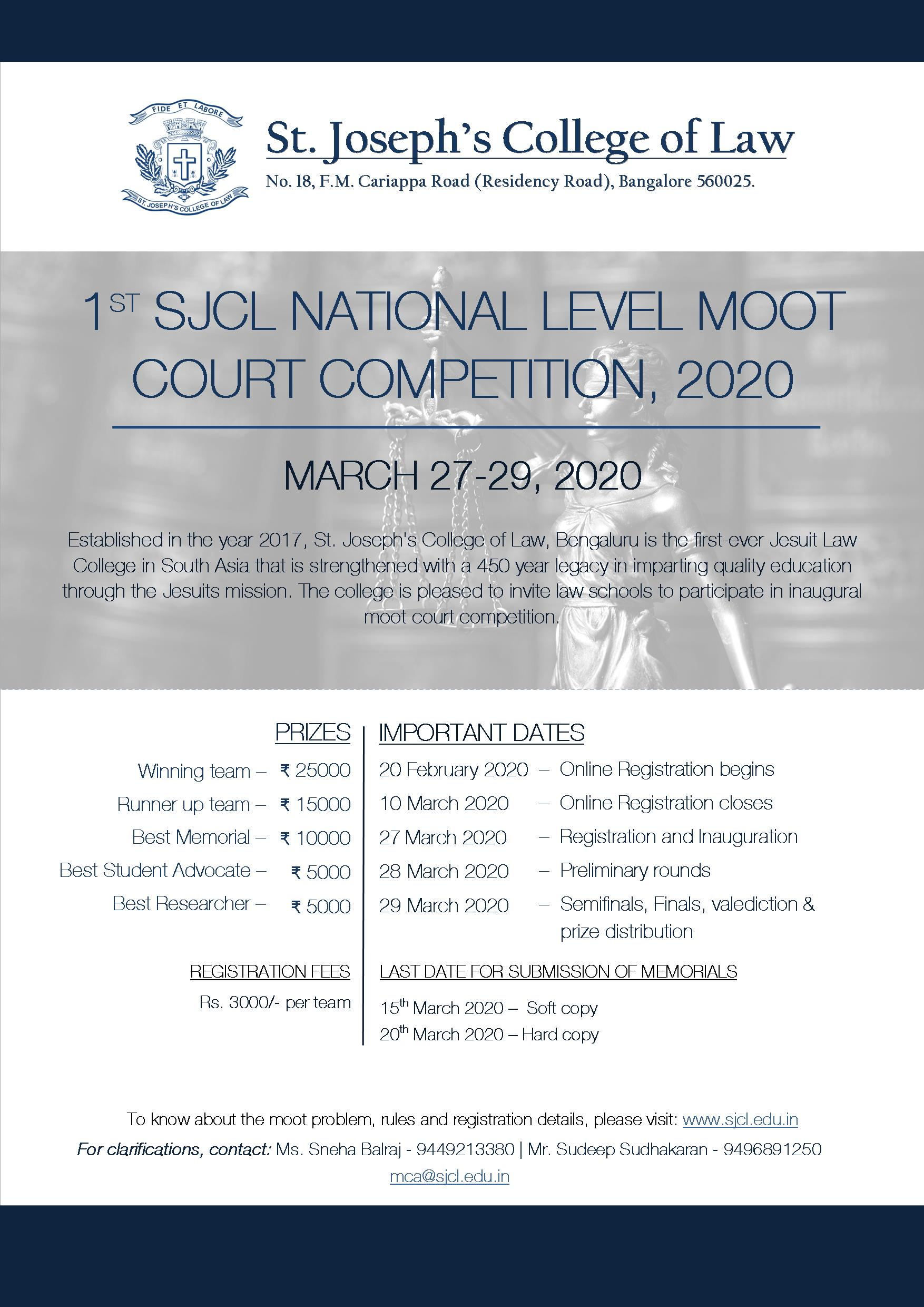 1st St. Joseph's College of Law National Level Moot Court Competition