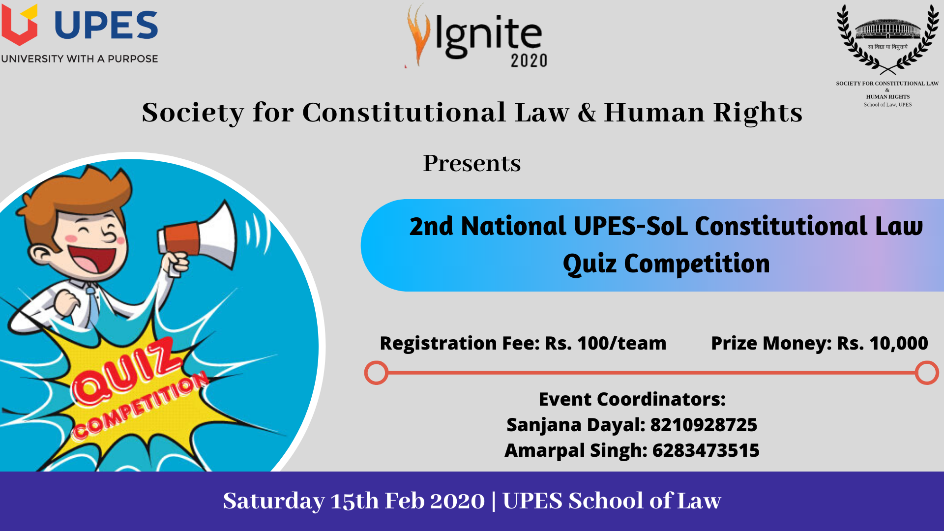 National Constitutional Law Quiz Competition at UPES, Dehradun