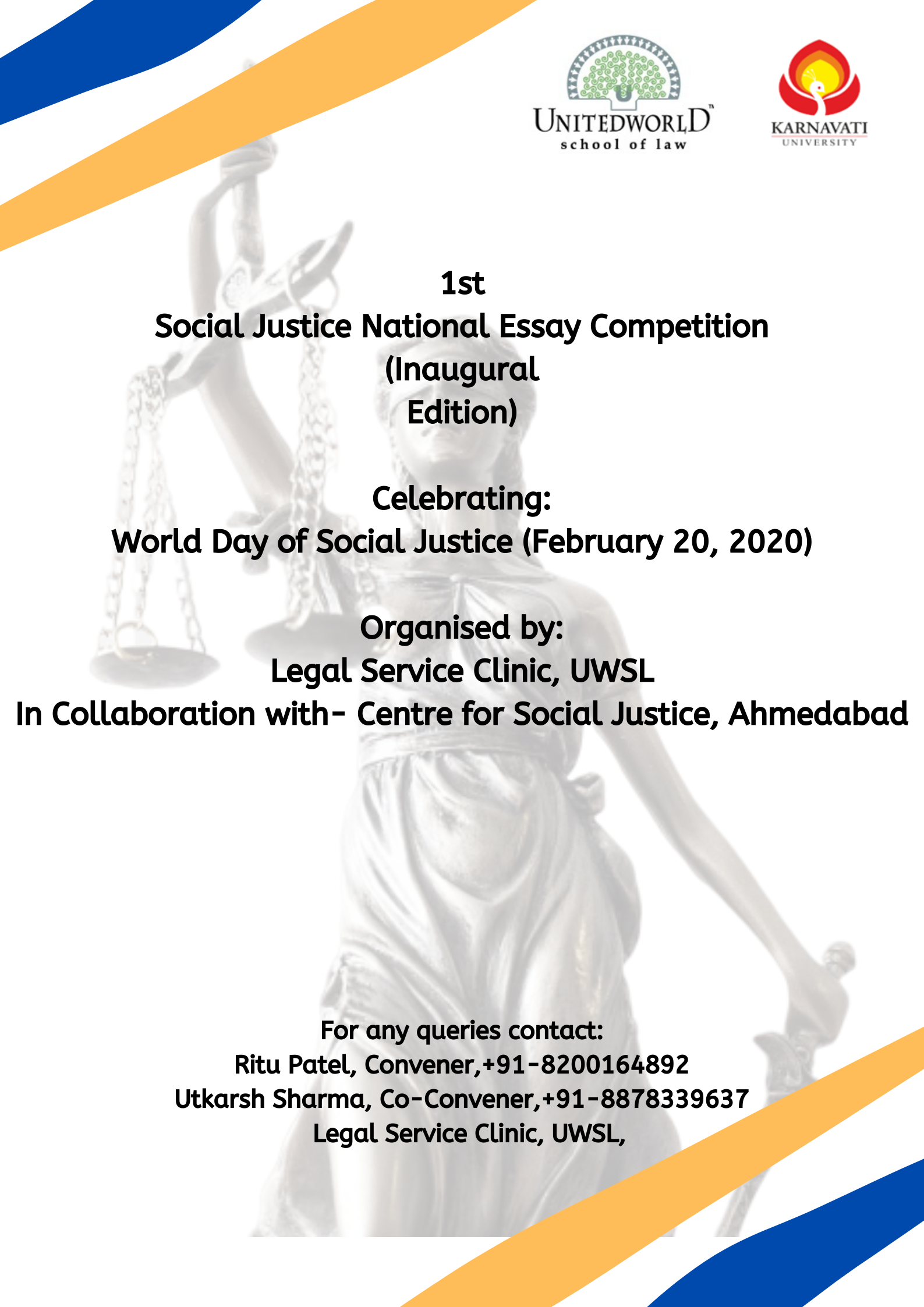 1st Social Justice National Essay Competition by Unitedworld School of Law