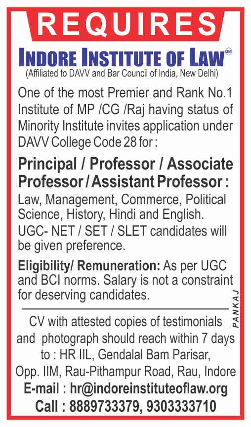 Various Vacancies at Indore Institute of Law