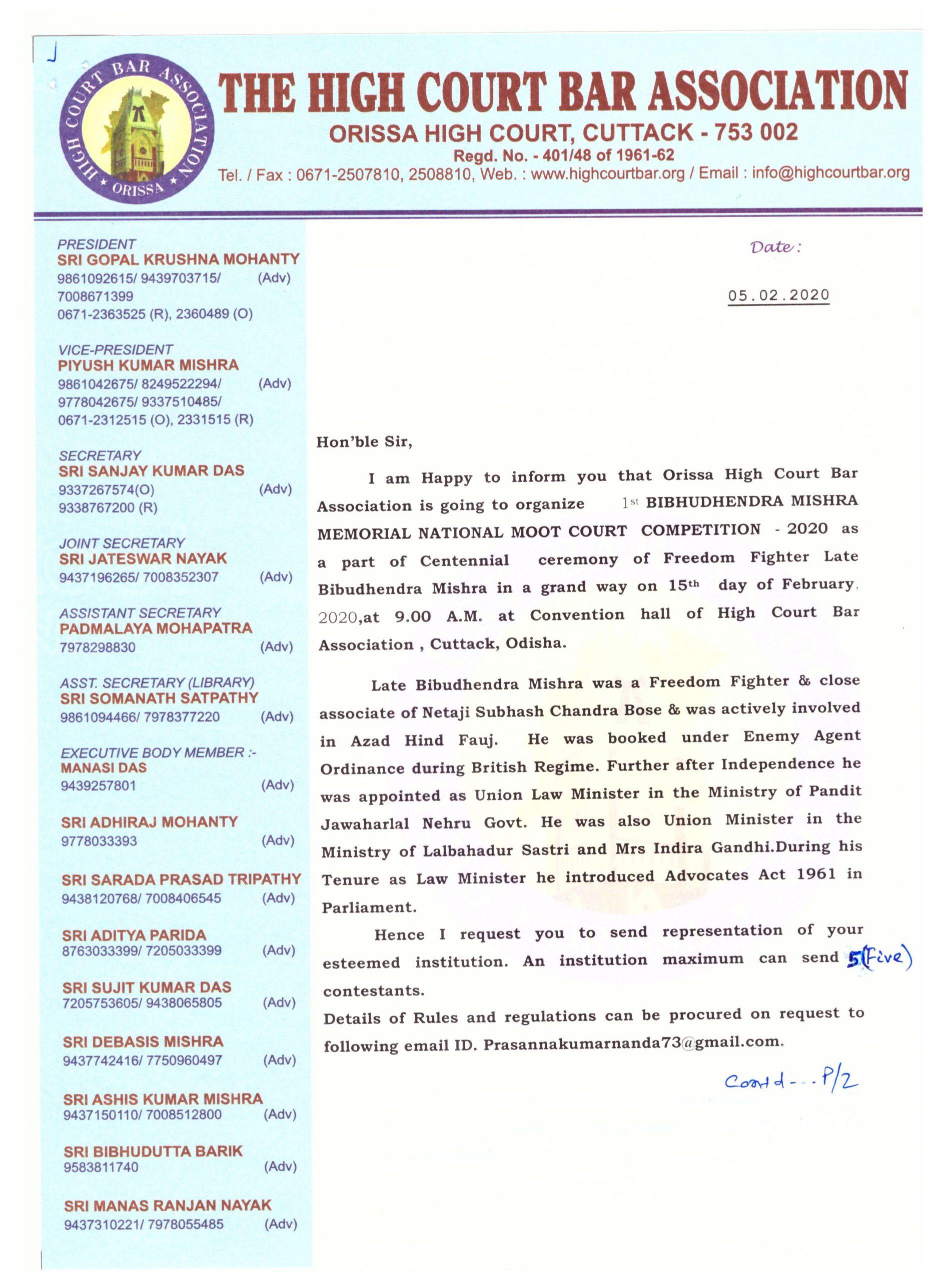 1st Bibhudhendra Mishra Memorial National Moot Court at High Court Bar Association, Odisha
