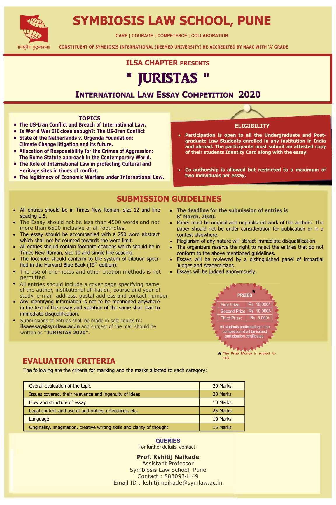 Juristas International Law Essay Competition by Symbiosis Law School, Pune