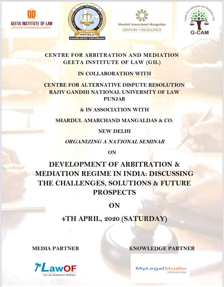 Seminar on Development of Arbitration and Mediation Regime at Geeta Institute of Law, Panipat