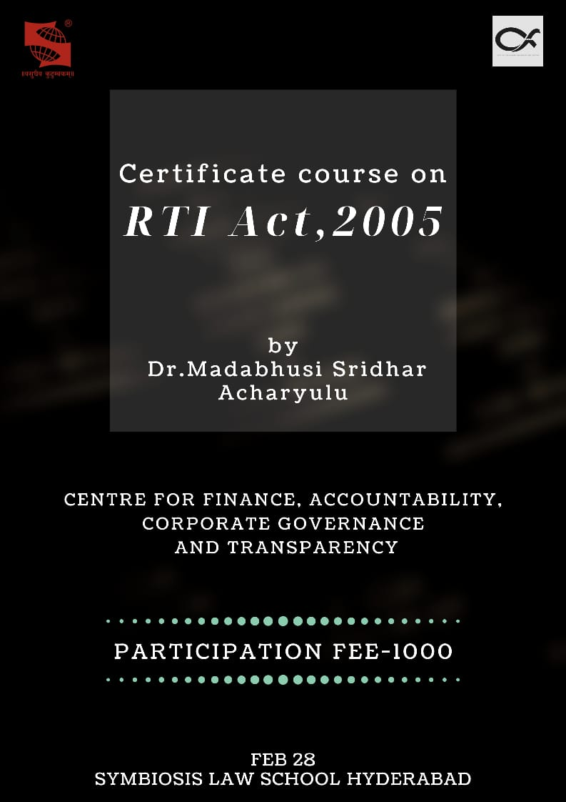 Workshop on Right to Information Act 2005 at SLS, Hyderabad