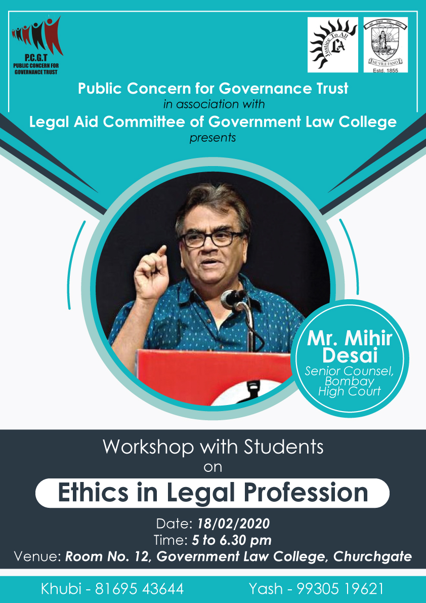 Workshop on Ethics in Legal Profession at PCGT, Mumbai