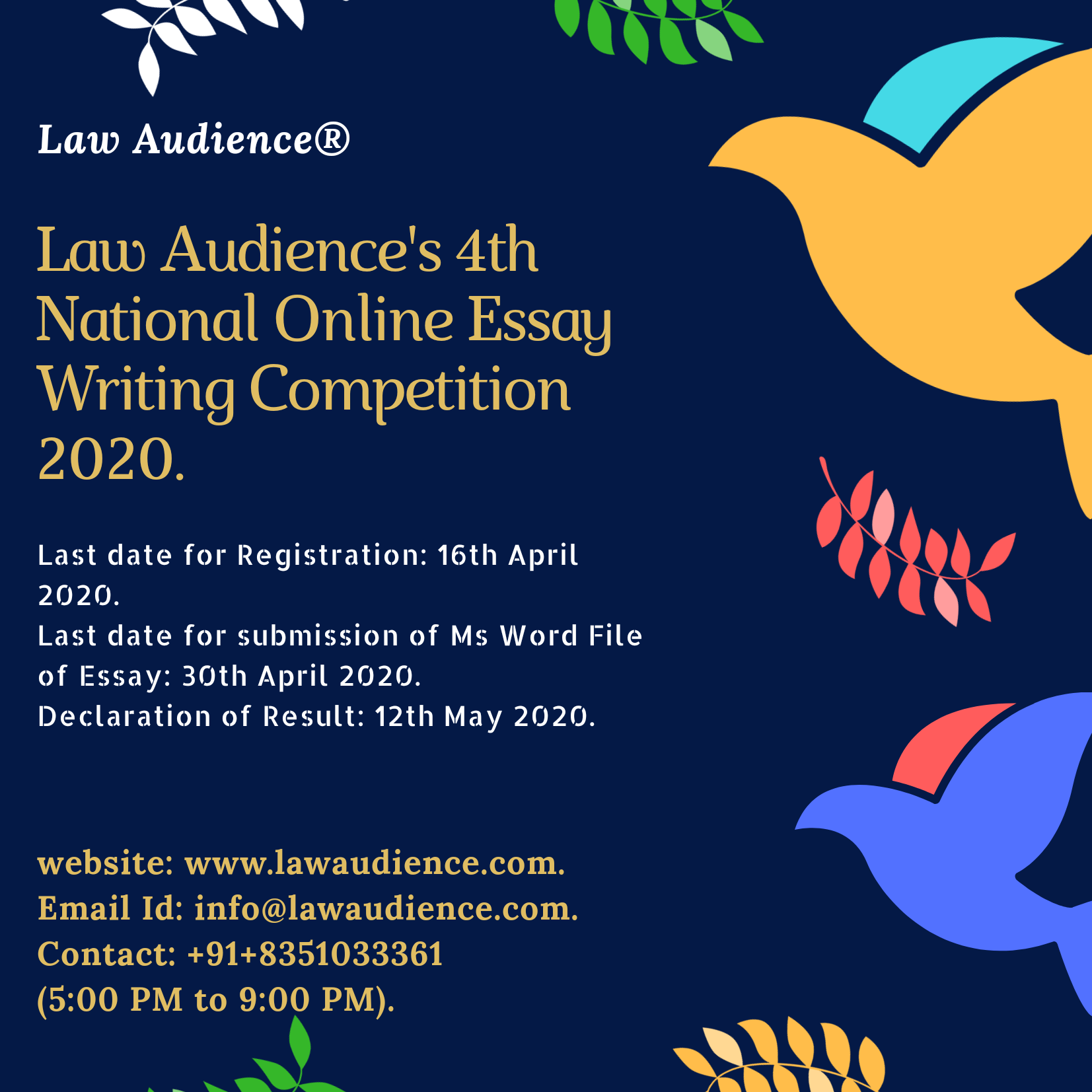 Law Audience's 4th National Online Essay Writing Competition 2020