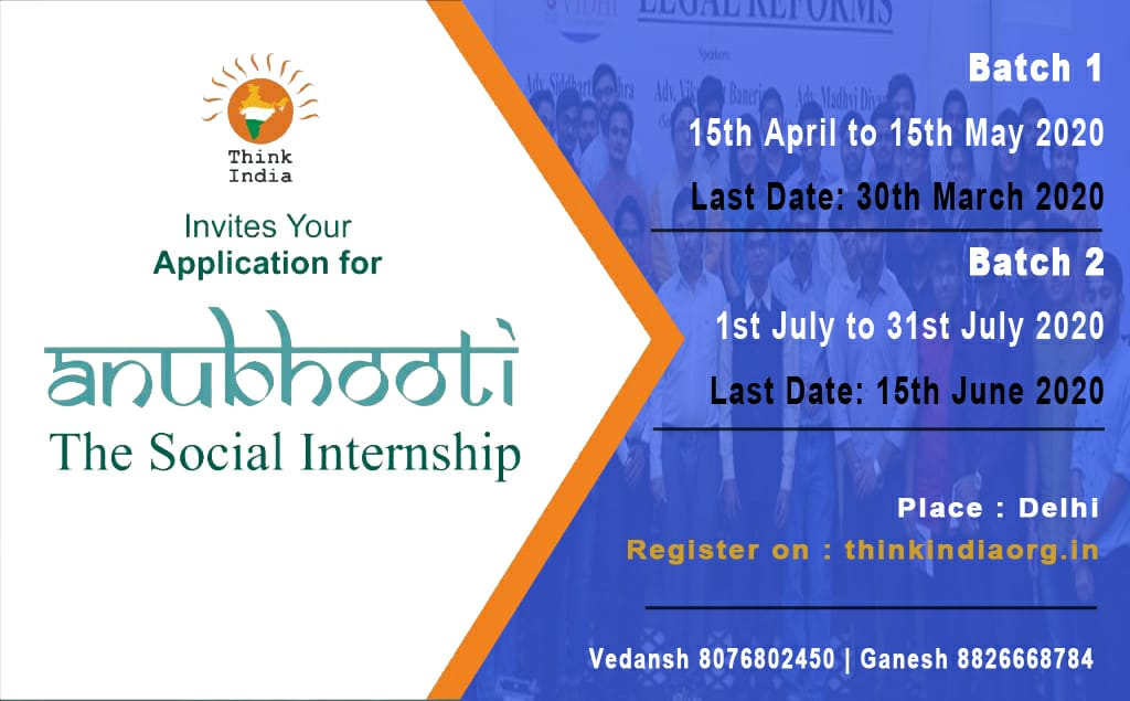 ANUBHOOTI: Social Internship Project by Think India