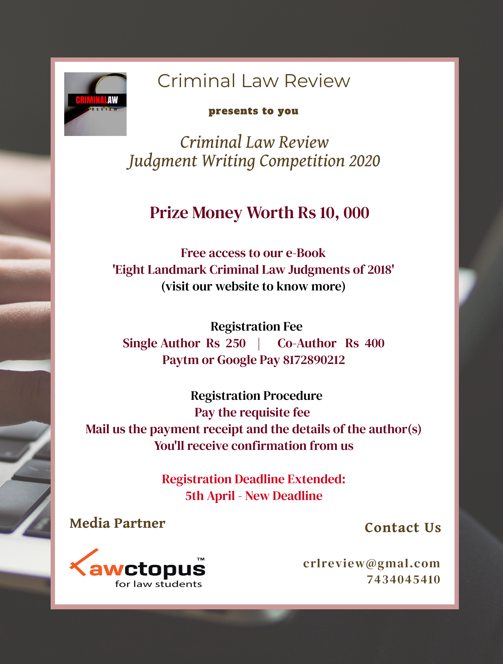 CriminalLawReviewJudgment Writing Competition 2020