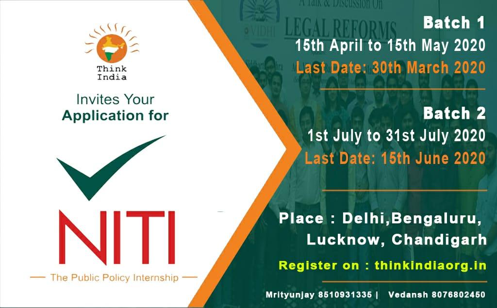 NITI: Public PolicyInternshipProgram by Think India