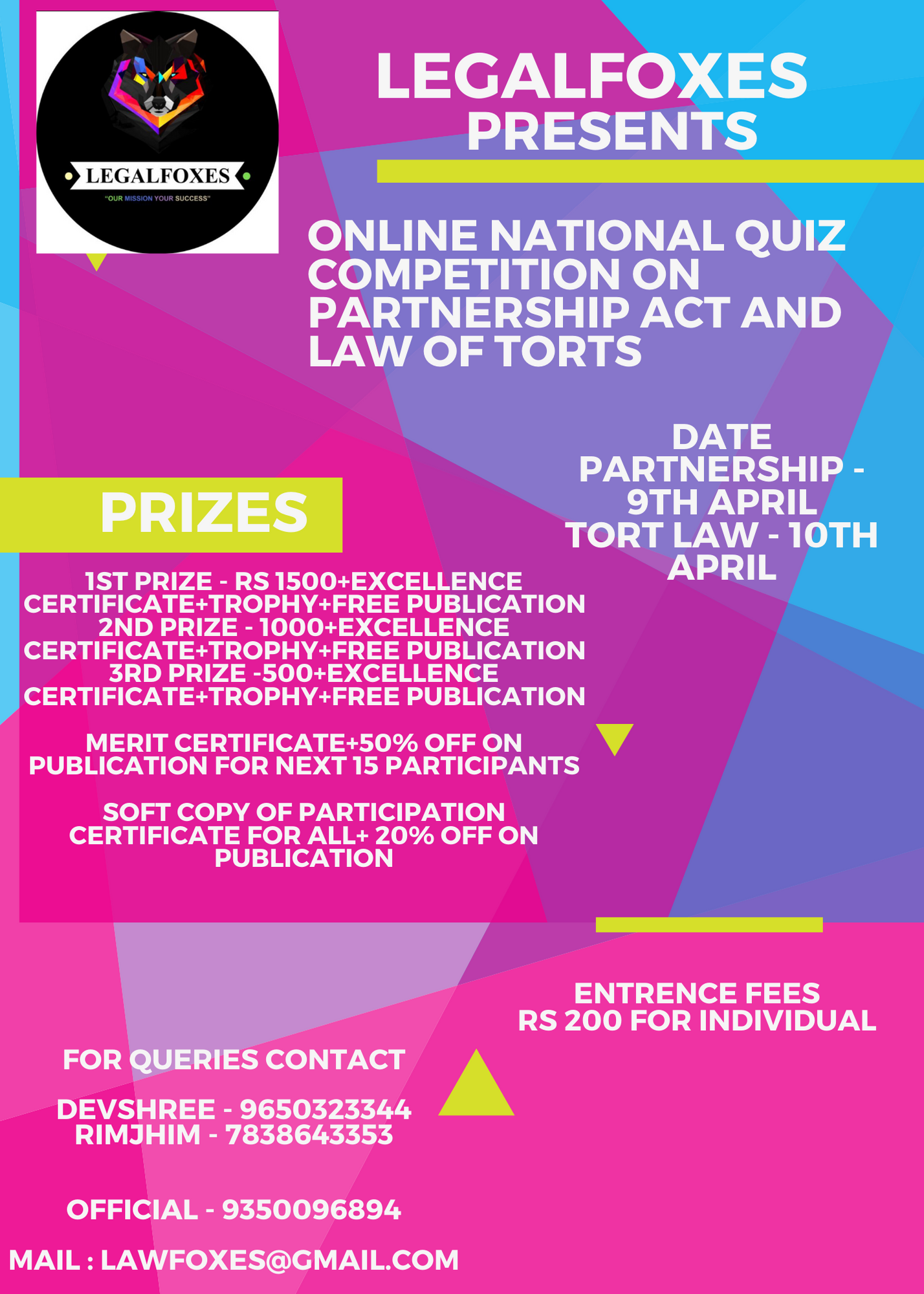 Legal Foxes' 8th Online Quiz Competition on Partnership Act and Law of Torts