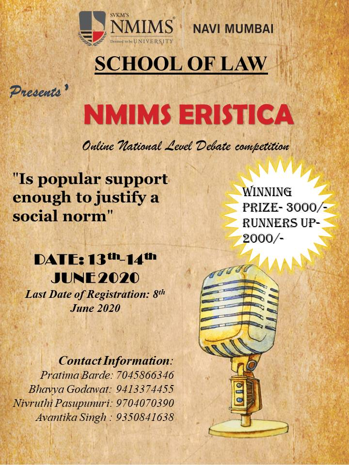 SVKM'S NMIMS School of Law Debate Competition