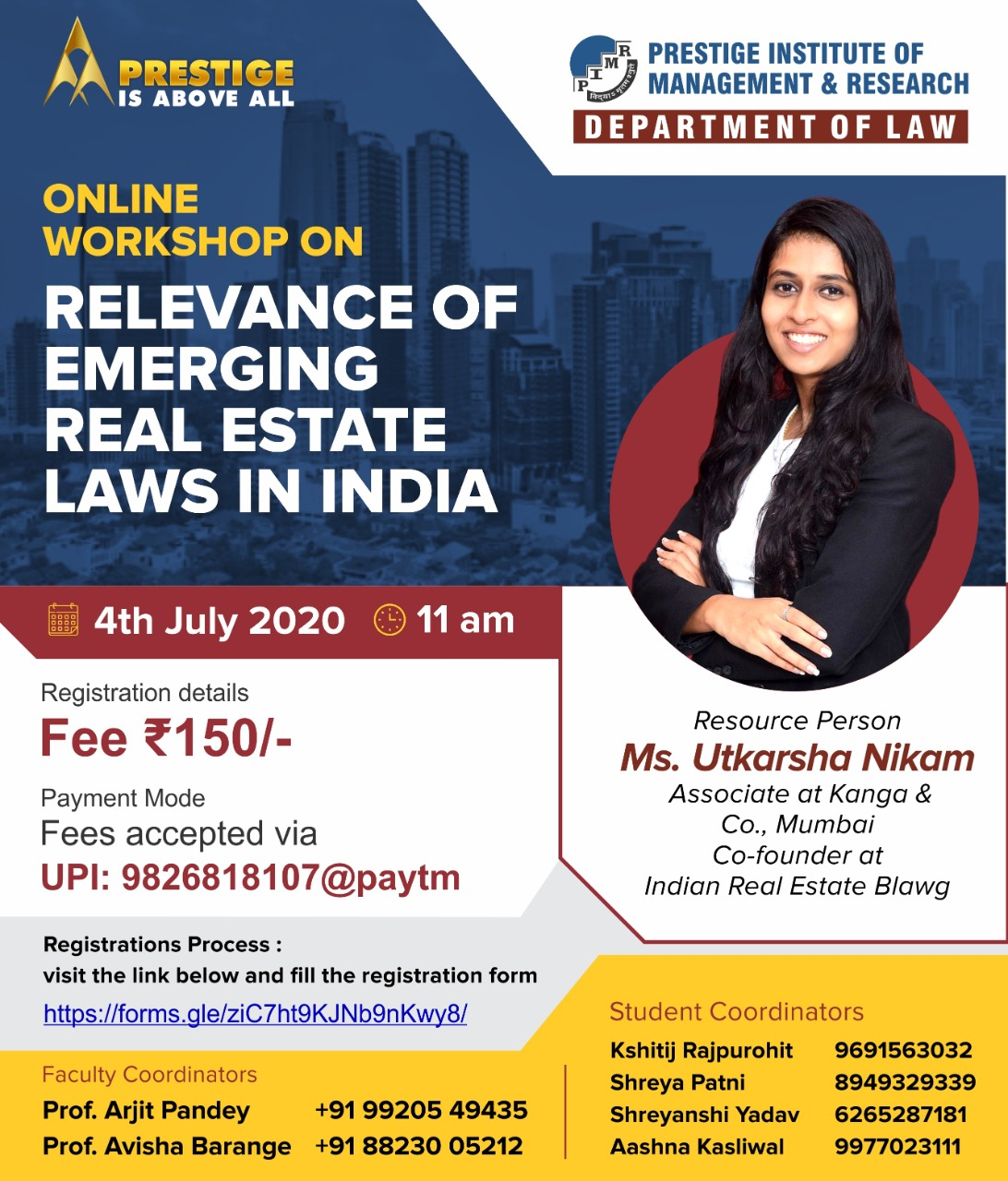 Workshop on Relevance of Emerging Real Estate Laws in India by PIMR, Indore