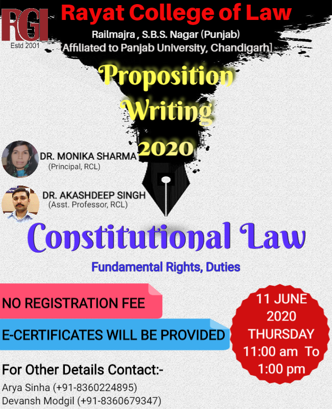 Online Proposition Writing Competition by Rayat College of Law