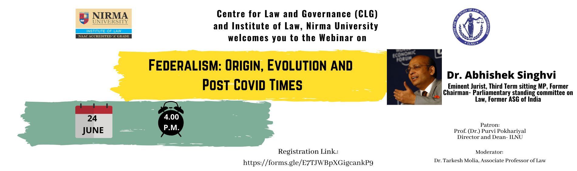 Webinar on Federalism by Centre for Study of Law and Governance & Nirmal University